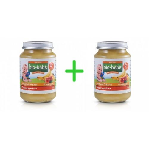 Bio-bebe Πουρές Φρούτων 200 gr 1+1 Δώρο