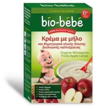 Bio-bebe Κρέμα με Μήλο & Δημητριακά Ολικής Άλεσης Βιολογικής Καλλιέργειας 200 gr