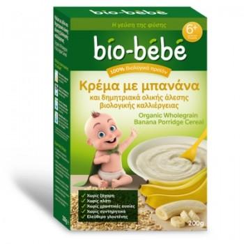 Bio-bebe Κρέμα με Μπανάνα & Δημητριακά Ολικής Άλεσης Βιολογικής Καλλιέργειας 200 gr