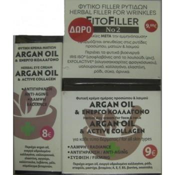 Fito+ Argan Oil Κρέμα Ματιών 20 ml + Fito+ Argan Oil Κρέμα Προσώπου & Λαιμού 20 ml + FitoFiller No2 10 ml