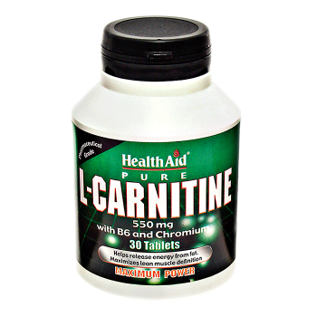 Health Aid L-Carnitine 550mg + Vitamin B6+ Chromium 30 tabs
