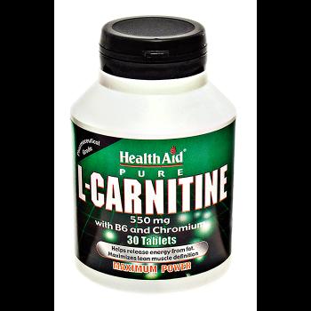 Health Aid L-Carnitine 550mg + Vitamin B6+ Chromium 30 tabs