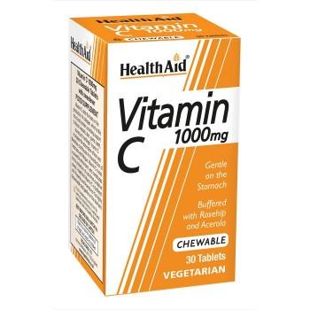 Health Aid Vitamin C 1000 mg 30 Μασώμενες Ταμπλέτες
