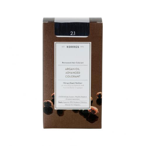 Korres Argan Oil Μόνιμη Βαφή Μαλλιών 2.1 Μαύρο Μπλε 50 ml
