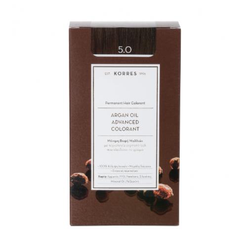 Korres Argan Oil Μόνιμη Βαφή Μαλλιών 5.0 Καστανό Ανοικτό 50 ml