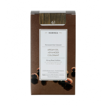 Korres Argan Oil Μόνιμη Βαφή Μαλλιών 6.1 Ξανθό Σκούρο Σαντρέ 50 ml