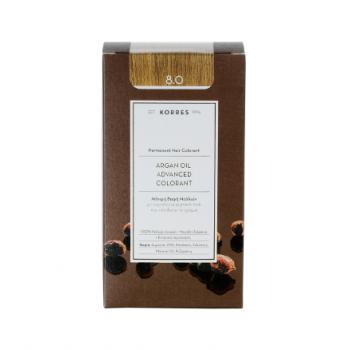 Korres Argan Oil Μόνιμη Βαφή Μαλλιών 8.0 Ξανθό Ανοικτό 50 ml