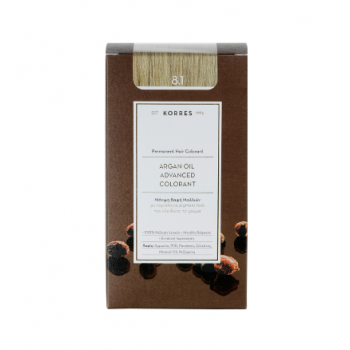Korres Argan Oil Μόνιμη Βαφή Μαλλιών 8.1 Ξανθό Ανοικτό Σαντρέ 50 ml