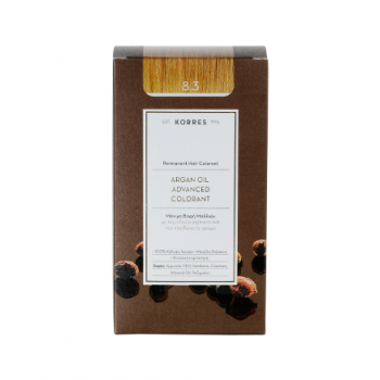 Korres Argan Oil Μόνιμη Βαφή Μαλλιών 8.3 Ξανθό Ανοικτό Χρυσό/Μελί 50 ml