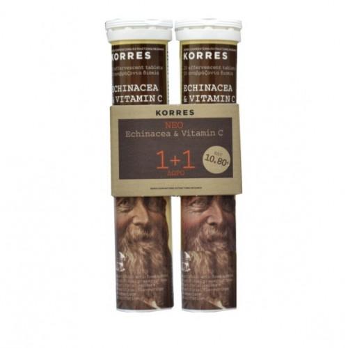 Korres Echinacea and Vitamin C 2x20 Αναβράζοντα Δισκία 1+1 Δώρο