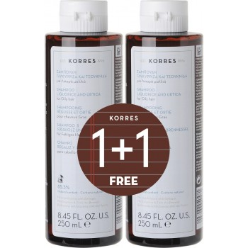 Korres Σαμπουάν Γλυκύρριζα & Τσουκνίδα για Λιπαρά Μαλλιά 1+1 Δώρο 2x250 ml