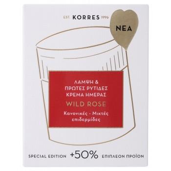 Korres Άγριο Τριαντάφυλλο Κρέμα Ημέρας για Κανονικές / Μικτές Επιδερμίδες + 50% Επιπλέον Προïόν 60 ml