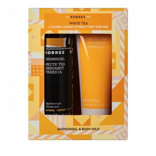 Korres Gift Set White Tea Bergamot Freesia Αφρόλουτρο 250 ml + Γαλάκτωμα Σώματος 125 ml