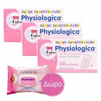 Physiologica Φυσιολογικός Ορός για τη μύτη x 40 αμπούλες των 5 ml (3 Συσκευασίες + Δώρο Physiologica Μωρομάντηλα 64 τεμ.) Ρινική Υγιεινή