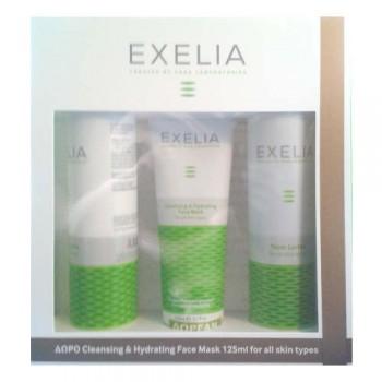 Exelia Πακέτο Προσφοράς Γαλάκτωμα Καθαρισμού 200 ml, Τονωτική Λοσιόν 200 ml και Ενυδατική Μάσκα 125 ml Καθαρισμός