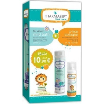 Pharmasept Baby Care Σετ Tol Velvet Mild Bath 300 ml + X-Lice Cologne 100 ml