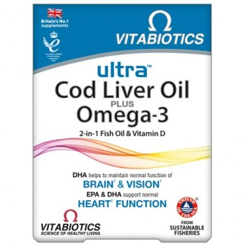 Vitabiotics Ultra 2 in 1 Cod Liver Oil Plus Omega 3 60 caps